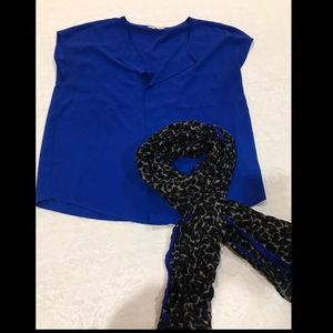 Naked Zebra Blue Blouse with Cheetah/blu scarf- L